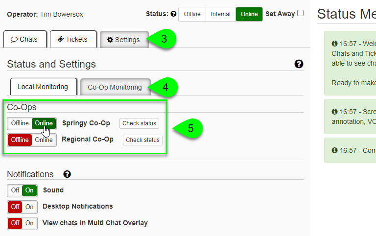 Co-Op Monitoring options under the Settings tab