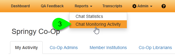 The Chat Monitoring Activity option under Reports