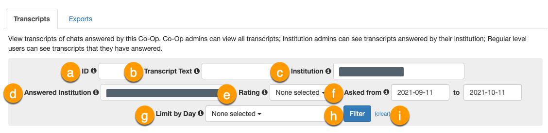Transcript filter options