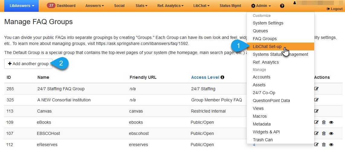 The Manage FAQ Groups page