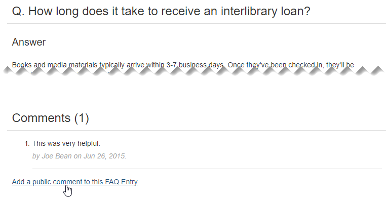 Comments section of a public FAQ page