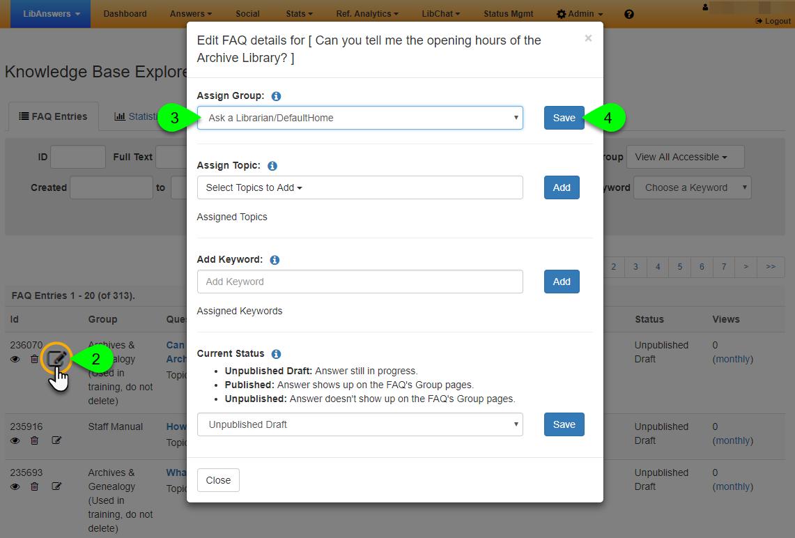 The Edit FAQ Details window