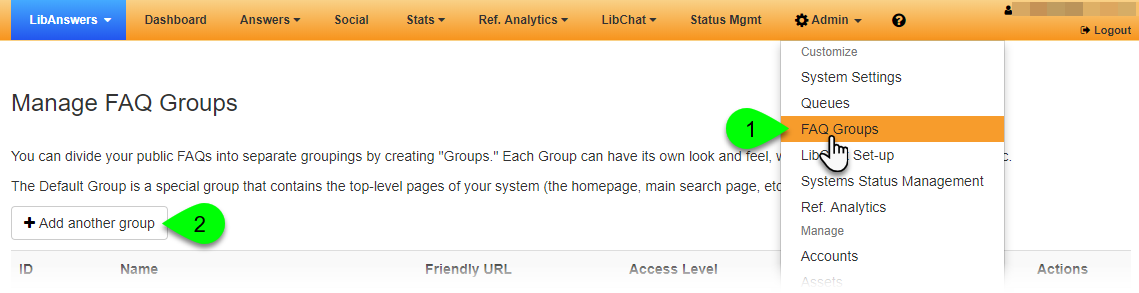 Add Another Group button on the Manage FAQ Groups page