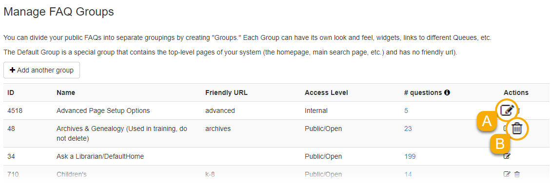 Options for managing groups
