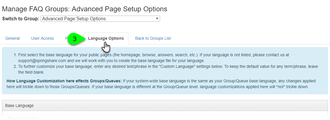 The Language Options tab on the Manage FAQ Groups page