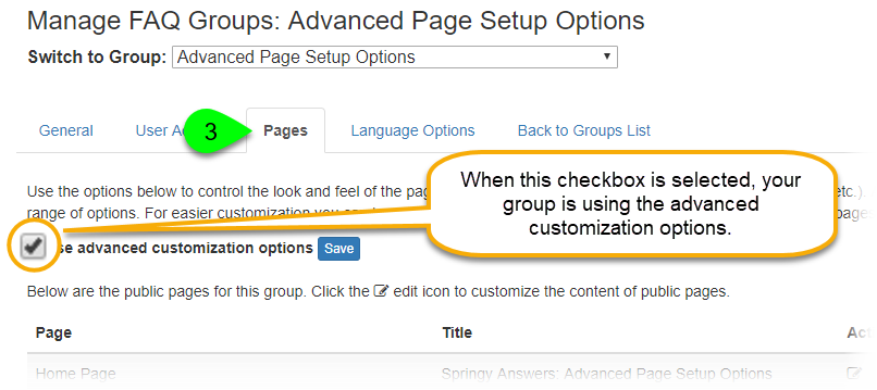 The Use Advanced Customization Options checkbox under the Pages tab
