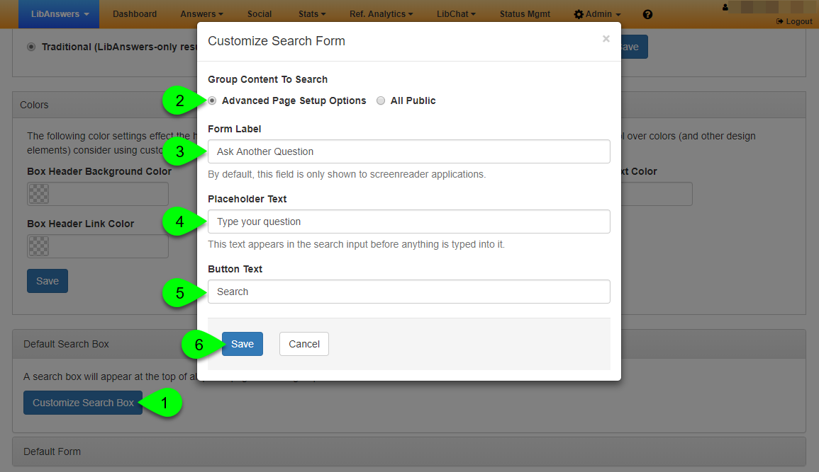 The Customize Search Form window