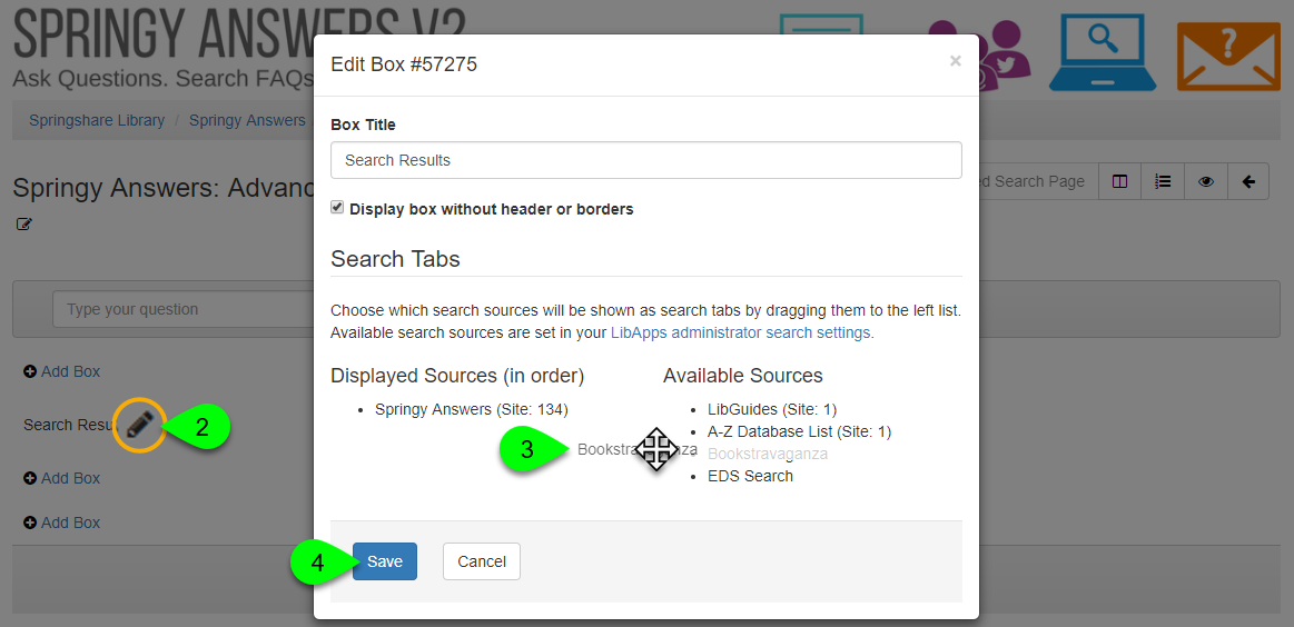 Selecting tabbed search sources in the Edit Box window