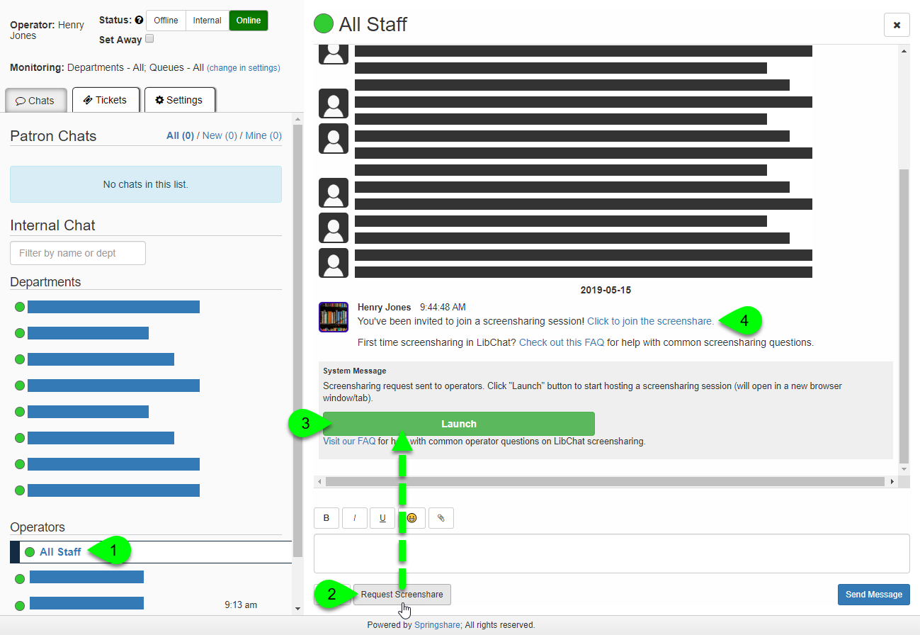 The Request Screenshare button in the all staff chat window