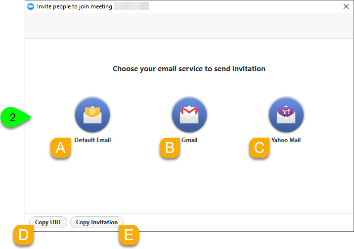 Email, Copy URL, and Copy Invitation options