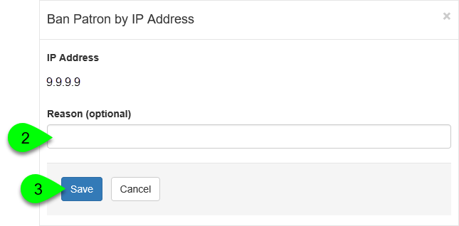 The Ban Patron by IP Address window