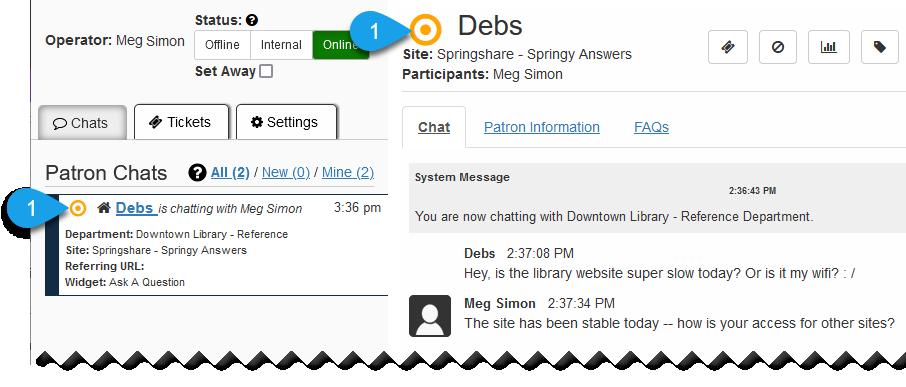 Orange chat status indicator