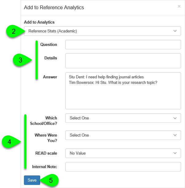 The Add to Reference Analytics window