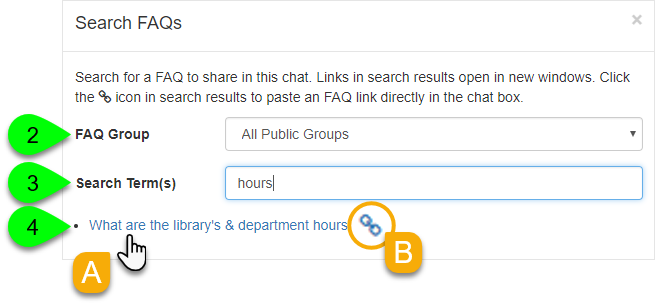 The Search FAQs window