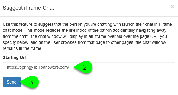 The Suggest iFrame Chat window