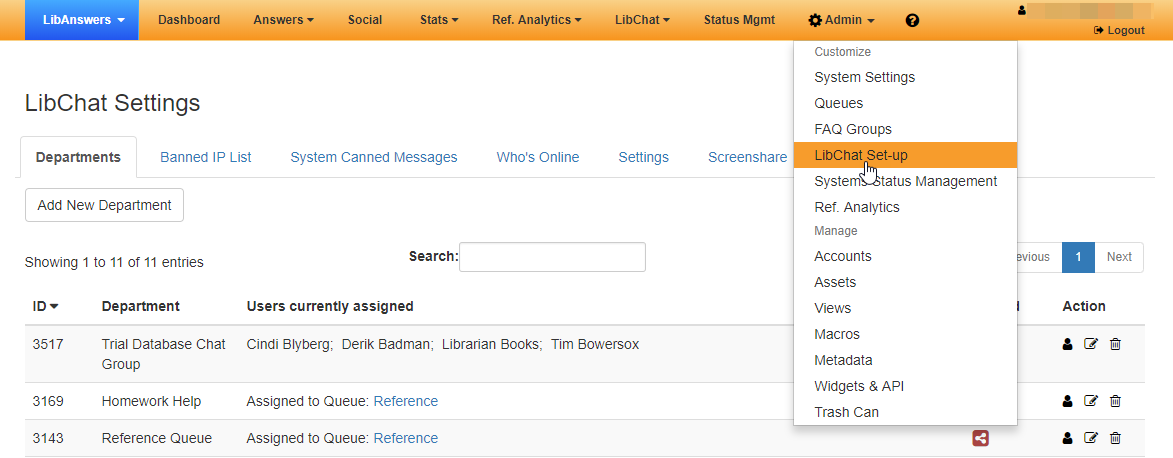 The LibChat Settings page