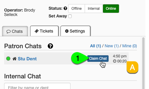 The Claim Chat button under the Patron Chats list