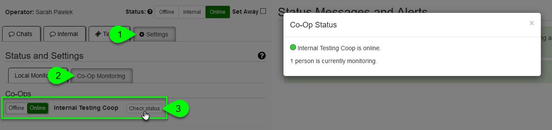 The Co-Op Status modal window