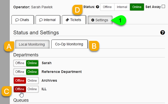 Department status toggles under the Settings tab of the LibChat dashboard