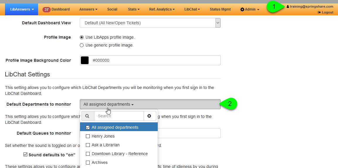 The Default Departments to Monitor setting