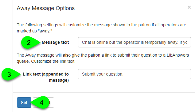 The away message options window