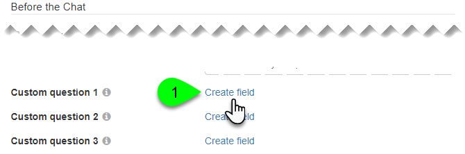 The Create Field link for a custom question