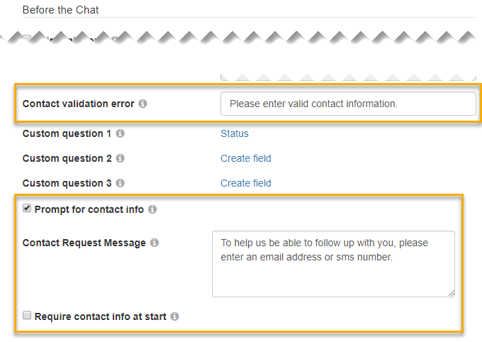 The Contact Validation Error, Prompt for Contact Info, Contact Request Message, and Require Contact Info at Start options