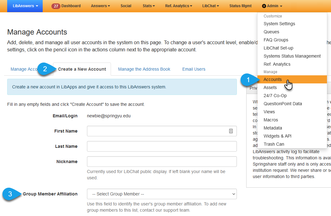 The Create a New Account tab on the Manage Accounts page