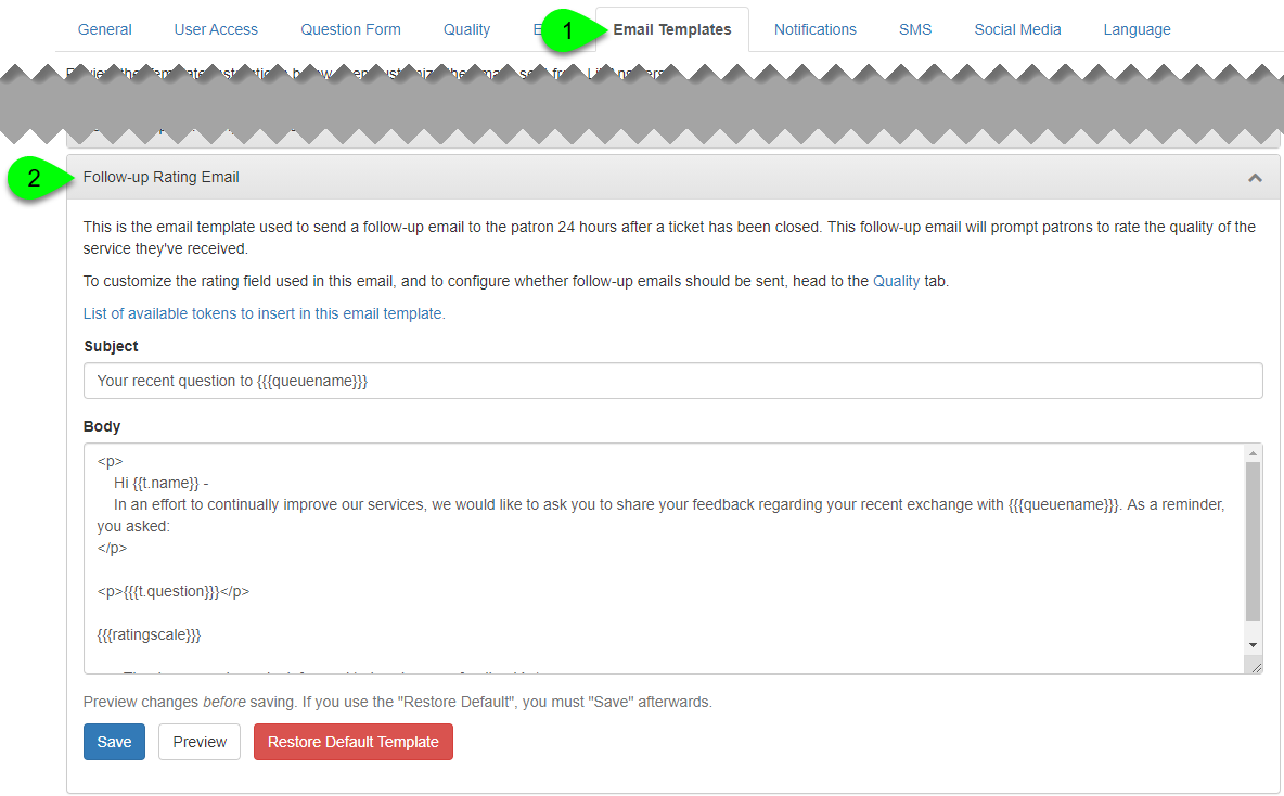 the Follow-up Rating Email template