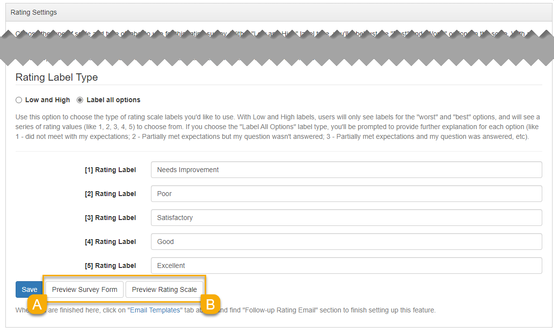 the Preview Survey Form and Preview Rating Scale buttons