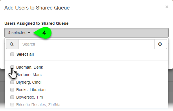 The Add Users to Shared Queue window