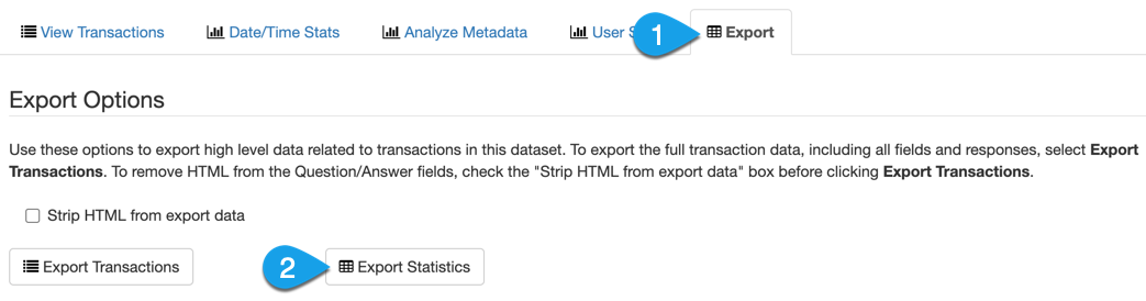 The Export tab for ref. analytics stats