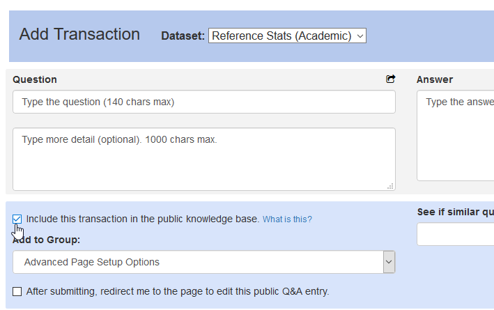 The option to create an FAQ from a new Reference Analytics transaction
