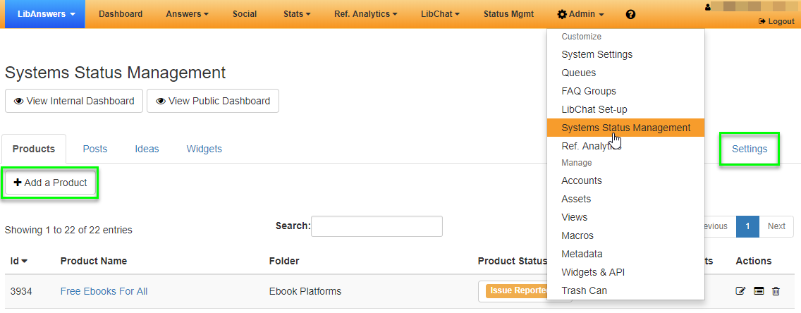 The Systems Status Management admin page