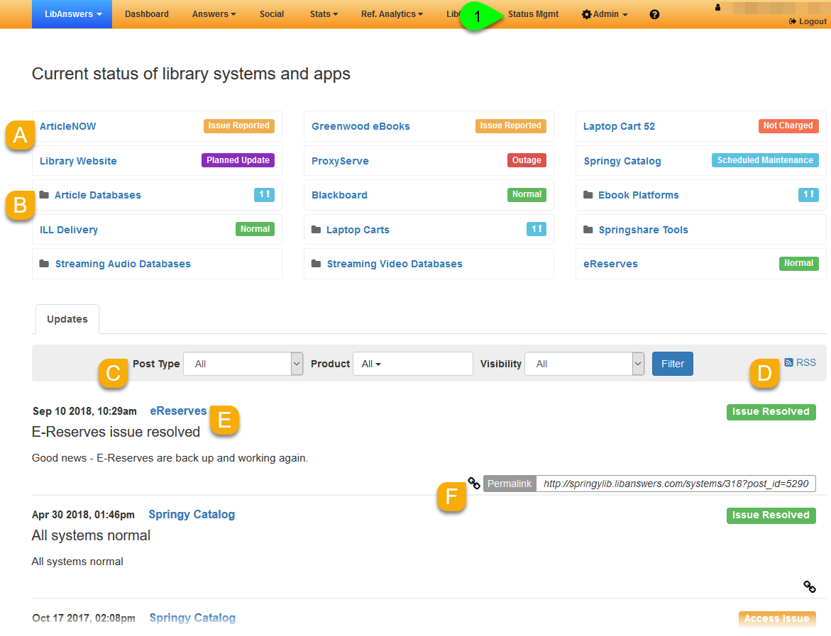 Internal systems status dashboard page
