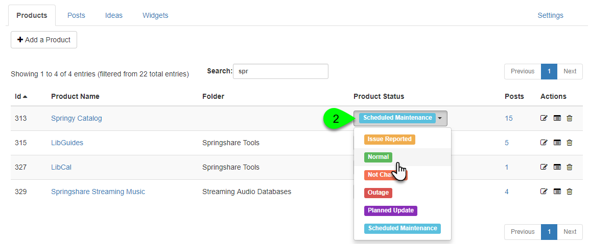 A product's status dropdown