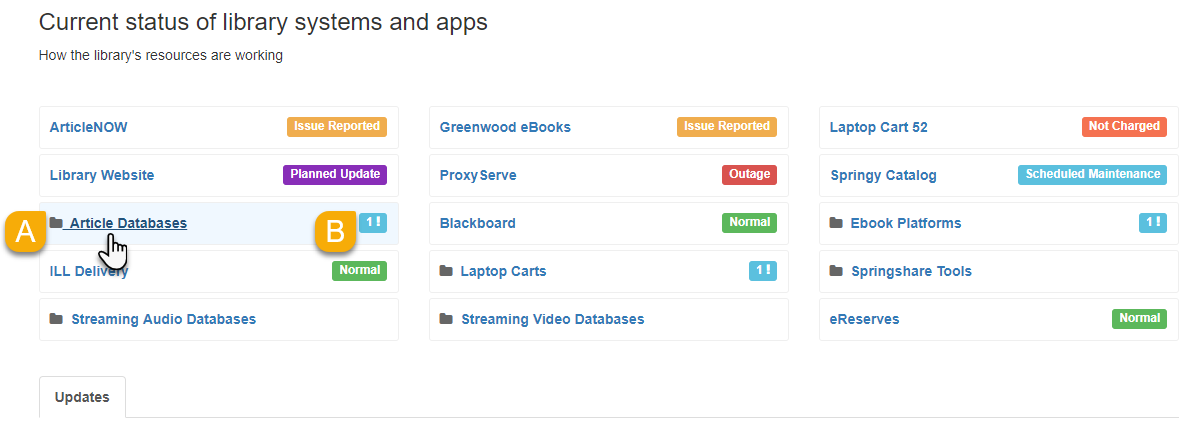 Example of product folders on the public dashboard page