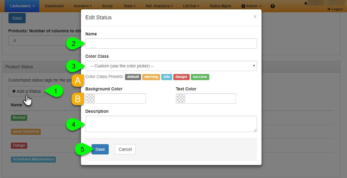 Options in the Edit Status window