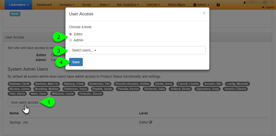 Options in the User Access window