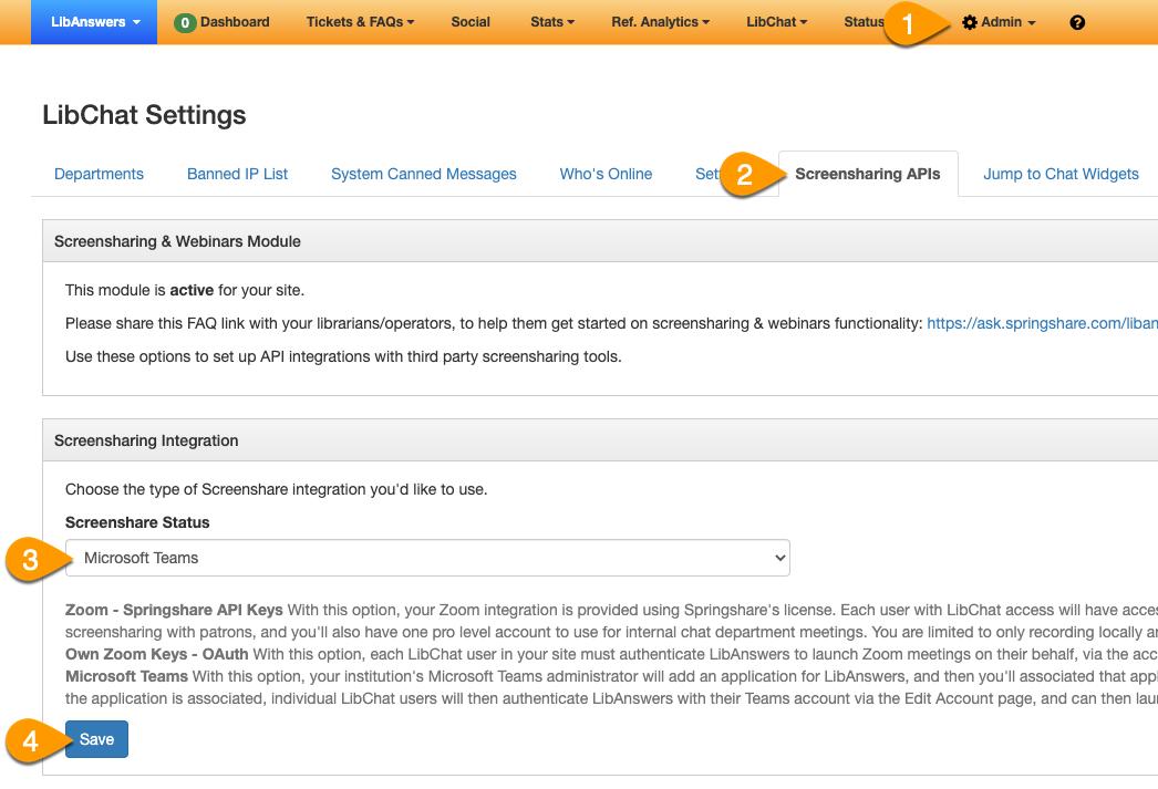 Screensharing integration panel