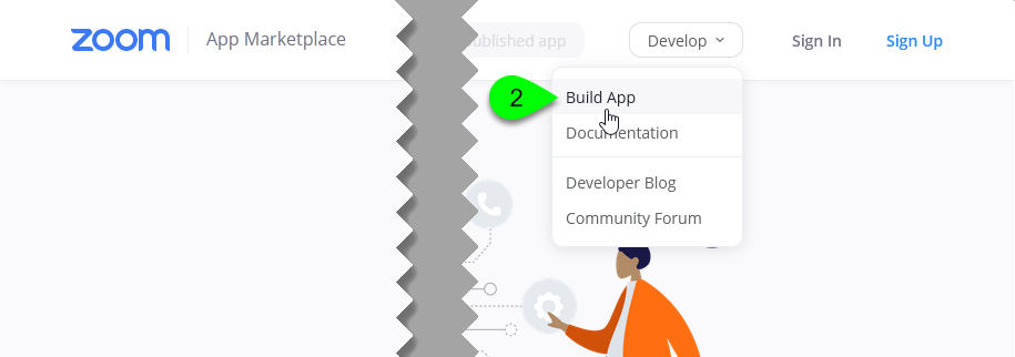 Selecting Build App from the Develop menu