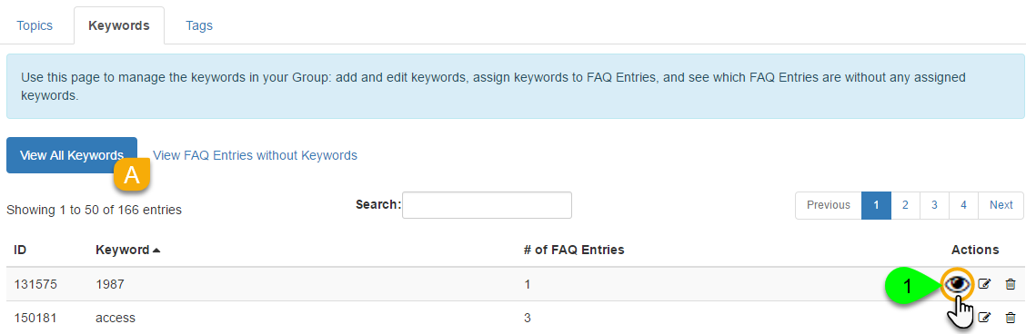 Example of viewing FAQs by keyword