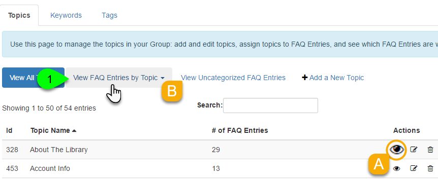 Example of viewing FAQs by topic