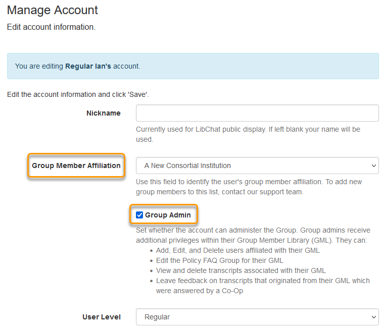 The Group Member Affiliation field on a user's Manage Account page
