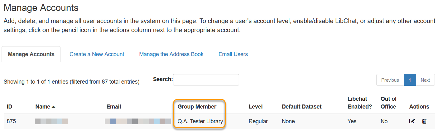 Account displaying the Admin indicator in the Group Member column