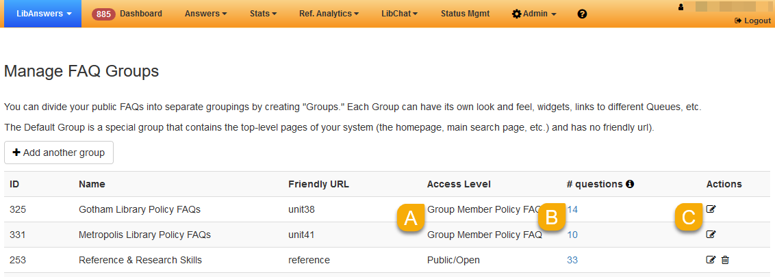 Group Member Policy FAQ groups listed on the Manage FAQ Groups page