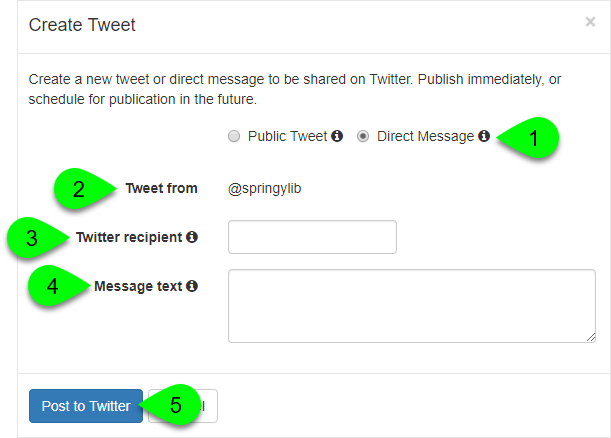 Options to post a direct message in the Create Tweet window