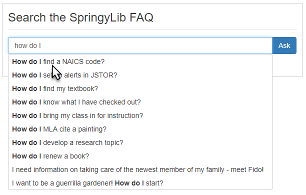 Example of a search form widget displaying suggested FAQs