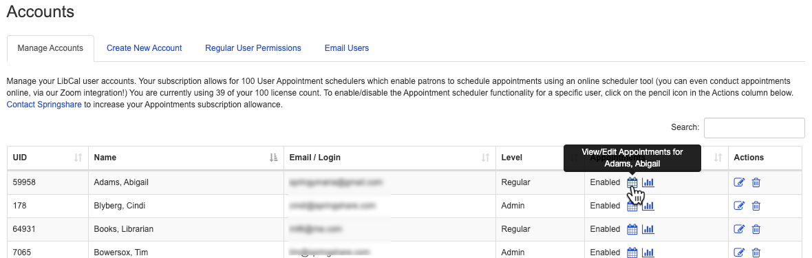 The option to view or edit a user's appointments