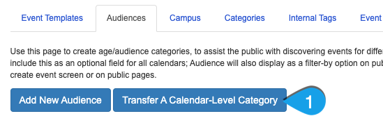 Clicking the Transfer a Calendar-Level Category button